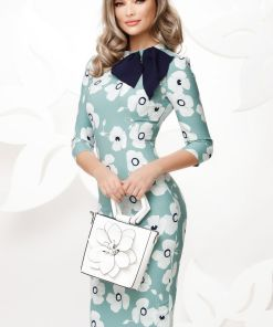 Rochie mint cambrata cu imprimeu floral si esarfa stilizata