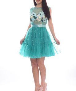 Rochie de ocazie baby doll din tull cu perle