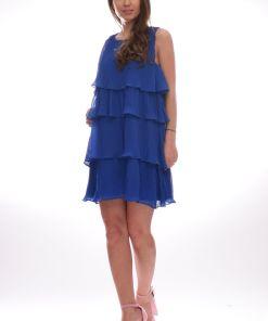 Rochie scurta din voal plisat de culoare albastra
