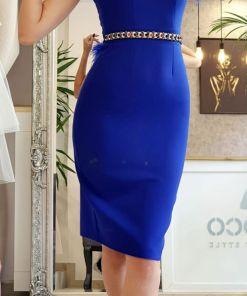 Rochie conica elastica albatra prevazuta cu pene