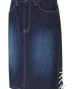 Fustă de blugi cu șiret - albastru
