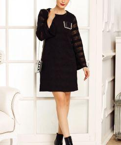 Rochie de zi Fofy croita lejer pe corp din tricot fin negru