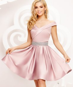 Rochie Artista roz scurta de ocazie in clos din satin pe umeri