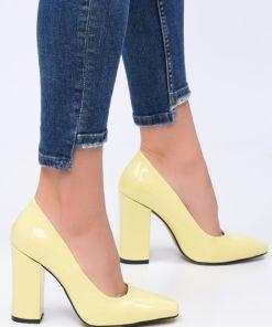 Pantofi cu toc Sticker V1 Galbeni