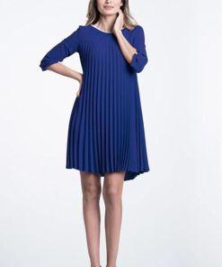 Rochie Xara de zi albastra plisata croita lejer