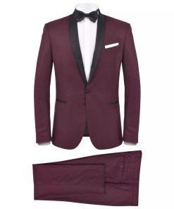 vidaXL Smoking/Costum de seară bărbătesc 2 piese mărime 50 burgundy