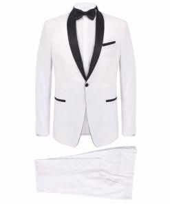vidaXL Frac/Costum de seară bărbătesc, 2 piese, mărime 46 alb