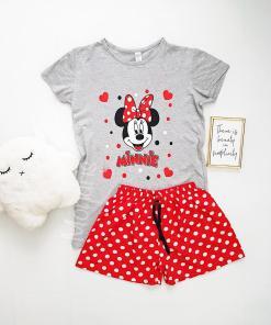 Pijama dama ieftina bumbac cu tricou gri si pantaloni scurti rosii cu imprimeu MM Buline