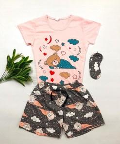 Pijama dama ieftina bumbac cu tricou roz si pantaloni scurti gri cu imprimeu Ursulet