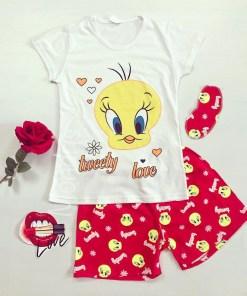 Pijama dama ieftina din bumbac cu tricou alb si pantaloni scurti rosii cu imprimeu TW Love