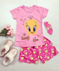 Pijama dama ieftina din bumbac cu tricou roz si pantaloni scurti roz cu imprimeu TW Love