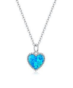 Colier din argint Opal Blue Heart