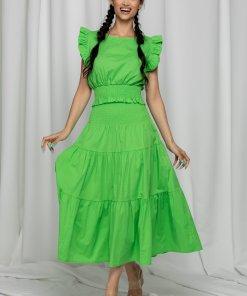 Compleu Mera verde cu top si fusta lejera cu volane