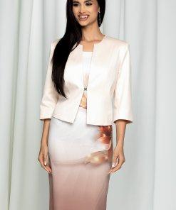 Compleu Valentina bej cu sacou si rochie