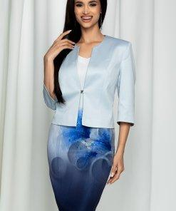 Compleu Valentina bleu cu sacou si rochie