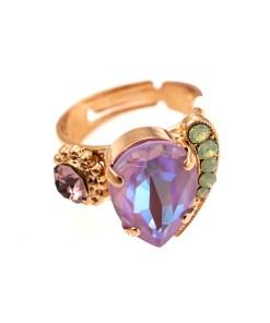 Inel placat cu Aur roz de 24K, cu cristale Swarovski, Lavender | 72009-1910RG