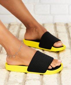Papuci/Slapi Textil Galbeni Brianna X5291