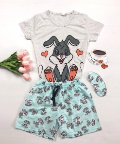 Pijama dama ieftina bumbac scurta cu pantaloni albastri si tricou gri cu imprimeu Love Bunny
