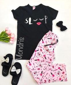 Pijama dama ieftina primavara-vara cu tricou negru si pantaloni lungi roz cu imprimeu Sleep