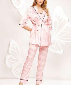 Pijama premium Fofy roz din 3 piese cu dungi din satin