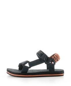 Sandale de panza cu velcro si detalii contrastante 3697898
