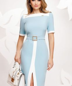 Rochie Fofy eleganta bleu cu insertii ecru si catarama cu cristale
