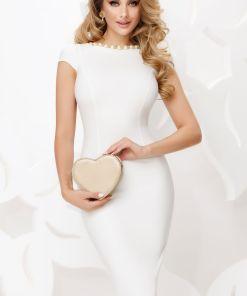 Rochie Fofy eleganta de cununie ecru cu colier din perle