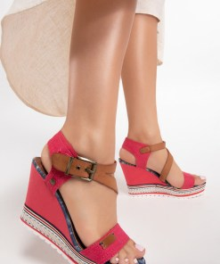 Sandale cu platforma Shelly Rosii
