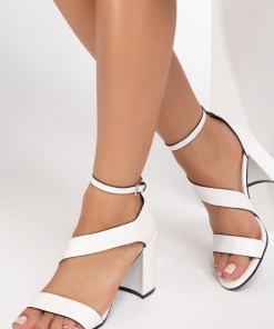 Sandale cu toc Delinda Albe