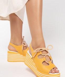Sandale piele naturala Lucille Galbene
