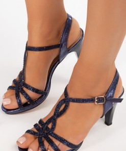 Sandale cu toc Mileda Navy