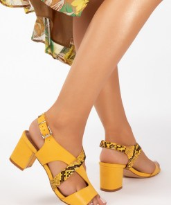 Sandale cu toc Mertens Galbene