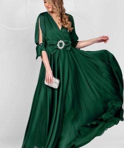 Rochie PrettyGirl verde petrol lunga de ocazie din voal clos cu elastic in talie cu maneci decupate