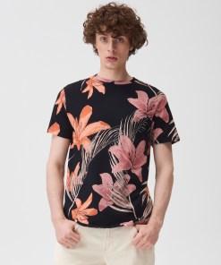 Sinsay - Tricou cu imprimeu floral - Negru