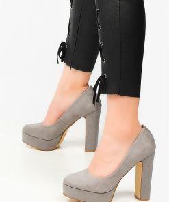 Pantofi cu toc Silk Gri