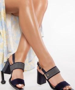 Sandale cu toc Claina Navy