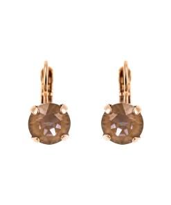 Cercei placati cu Aur roz de 24K, cu cristale Swarovski, Cappuccino DeLite | 1440-148RG6