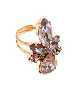Inel placat cu Aur roz de 24K, cu cristale Swarovski, Cappuccino DeLite | 7030/70-148212RG