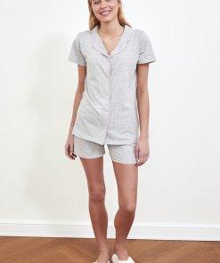 Pijama scurta de bumbac cu detalii contrastante 3501921