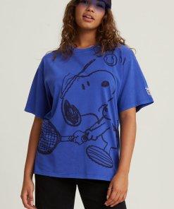 Tricou supradimensionat cu imprimeu Snoopy 3060493