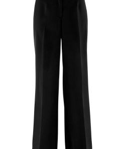Pantaloni stretch, evazați, cu talie confortabilă - negru