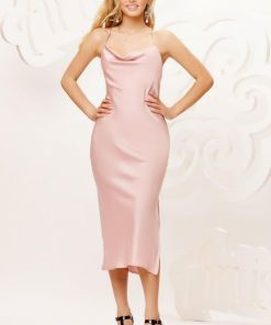 Rochie eleganta tip furou din material vaporos de culoare roz prafuit