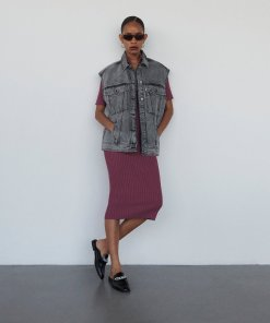Reserved - Rochie din tricot reiat - Violet