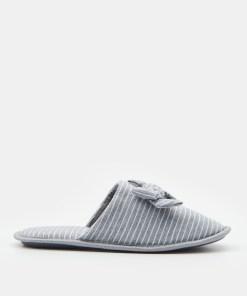 Sinsay - Papuci de casă cu fundiță - Gri deschis