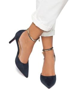 Pantofi dama Farmacee cu margini decupate, Bleumarin
