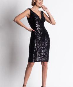 Rochie de ocazie neagra din paiete cu croiala conica