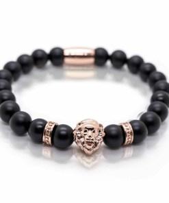 Bratara barbati cap de leu rose gold pietre semipretioase onix snur elastic