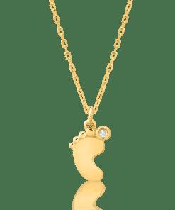Lant cu pandant talpita bebe pentru copii din aur galben de 14K cu diamant de 0.006ct 20040