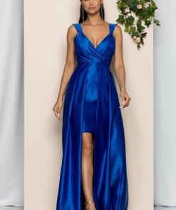 Rochie Moze albastra cu bust intarit si trena