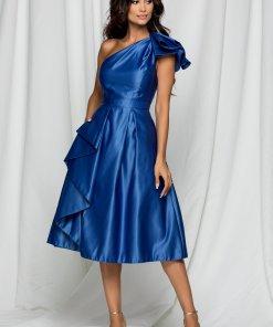 Rochie Moze albastra din tafta cu volanas la maneca si fusta